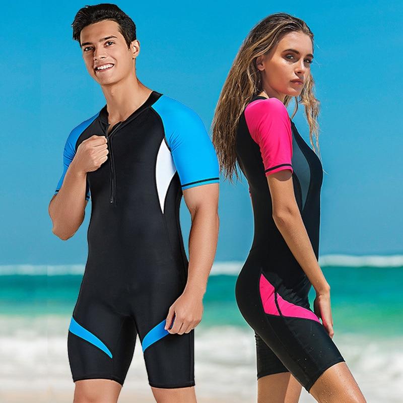 Men Women UPF50 One Piece Swimsuit Rash Guard Swimwear Short Sleeve Surfing  Skin | eBay