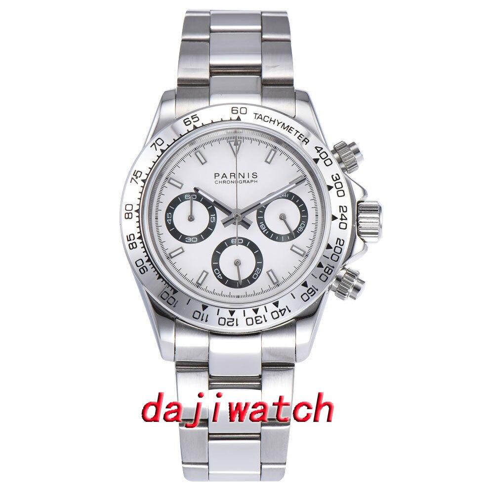 Nowy przyjeżdża 39mm PARNIS biała tarcza męski zegarek kwarcowy solidna obudowa pełna chronograf w Zegarki kwarcowe od Zegarki na  Grupa 1