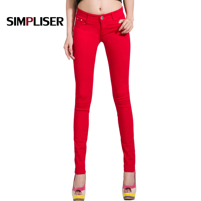 Pants Women White Red Black 20 Candy Color Women   Jeans   Pants Plus Size Skinny Trousers Stretch   Jeans   Leggings Femme Pantalon