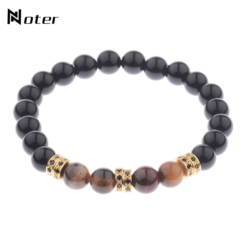 Noter Black Matte Stone Tiger Eyes Beads Bracelet Luxury Cubic Zirconia Paved Handmade Braclet For Mens Hand Jewelry Accessories