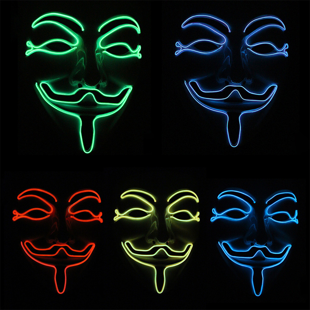 10 FARBE Option Vendetta draht Maske Blinkende Cosplay LED MASKE Kostüm Anonym Maske für Strahlende dance Karneval Party Masken