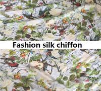 2017 pássaro da selva moda vestido flores florescendo como um pedaço de brocado de seda tecido chiffon boutique DIY