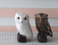 Un par de simulación juguetes búho regalo de polietileno y modelos de piel de brown & white owl cerca de 7*7*12cm137