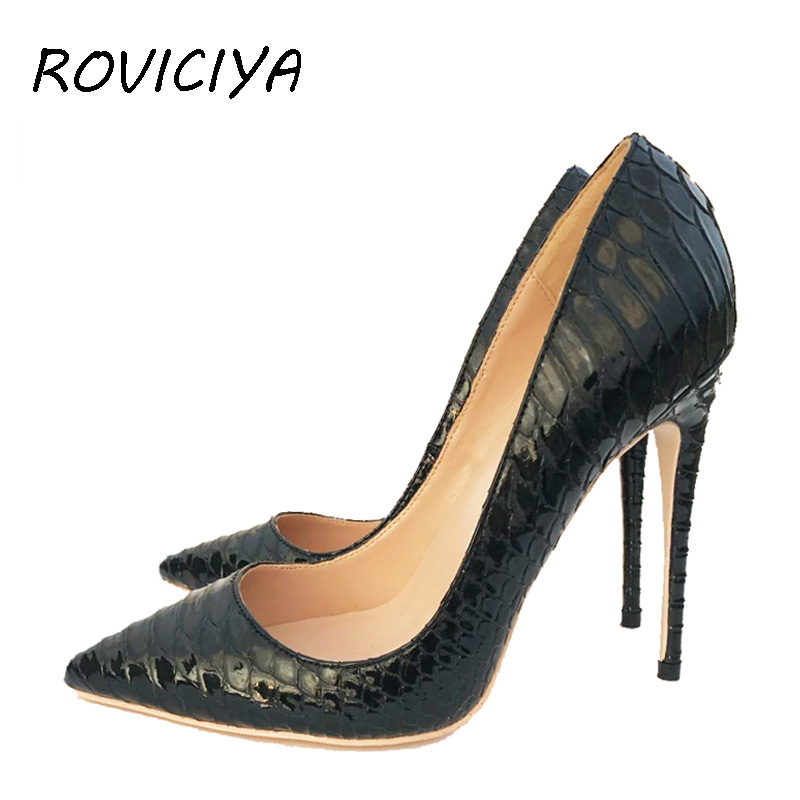 Brand Stilettos Black Apricot Snake Printed Women Shoes High Heel 12 cm 10 cm 8 cm Party Shoes for Women Pumps YG022 ROVICHA