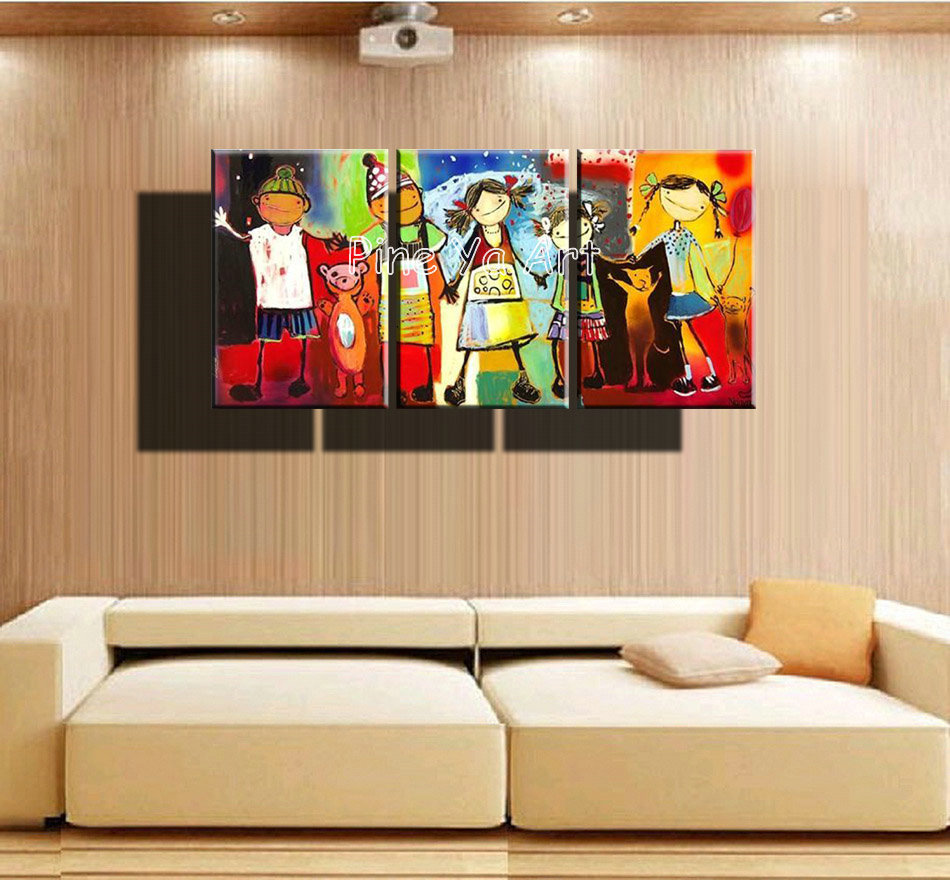 3 panel abstract handmade decorative canvas wall art kids room oil painting reproduction canvas for Canvas prints childrens bedrooms