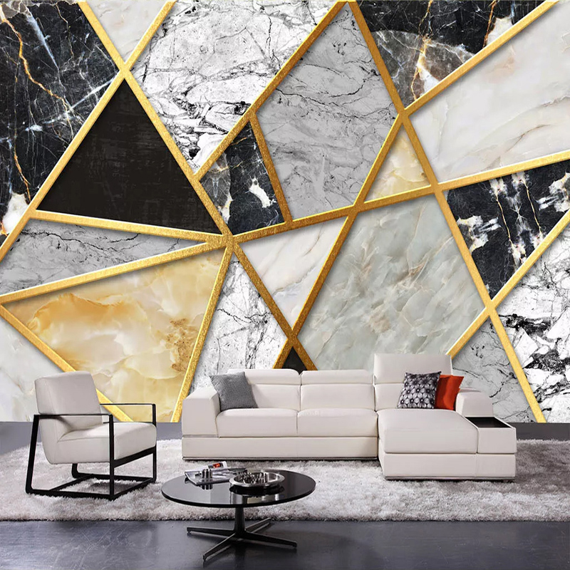 Modern Simple Marble Geometric Pattern Mural Wallpaper 3D Abstract Art Wall Paper Living Room TV Home Decor Luxury 3 D Frescoes