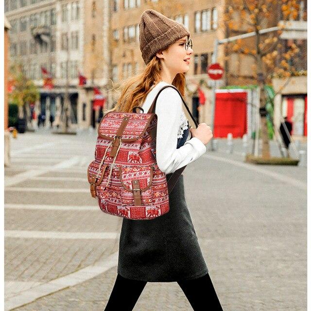 Women Bohemian Ethnic Bag Boho Hippie Bucket Travel Backpack Cotton Fabric Bag Canvas Pockets National Large Bags Laptop Mochila