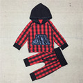 Baby Boys Girls Christmas Clothing Set Kids Cotton Autumn 2Pcs Suit Hoodies+Pants Girl Red Plaid Suit 2016 New Fashion 20D