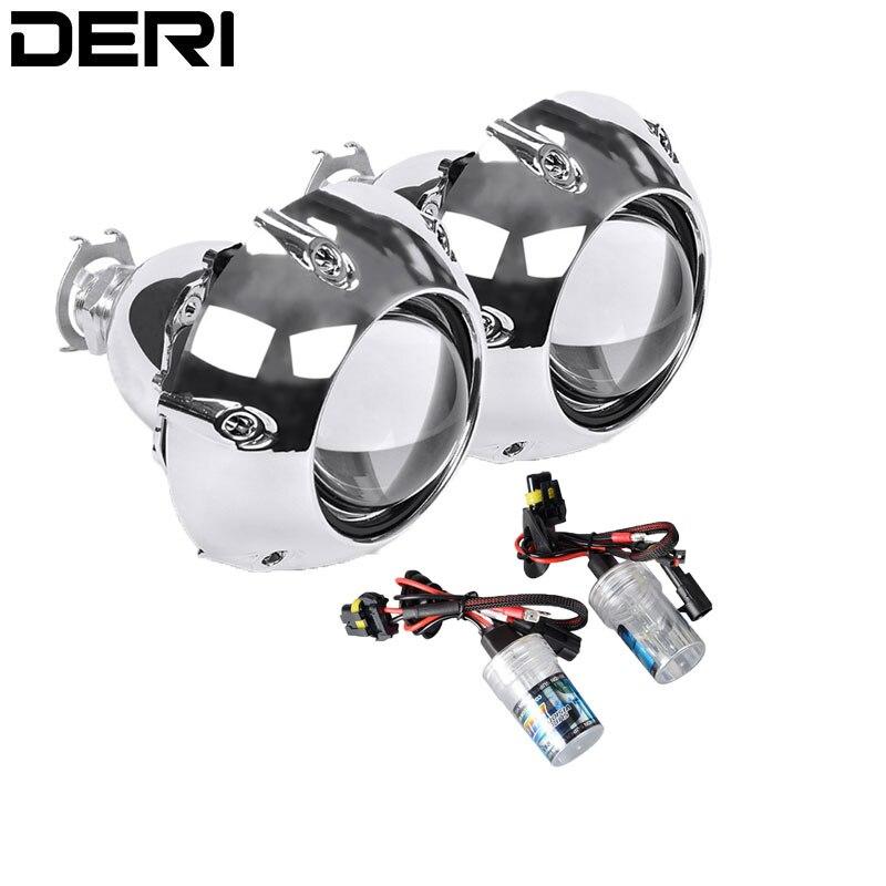 2.5 pouces Mini HID Bi xénon phare projecteur lentille avec H4 H7 adaptateur H1 xénon ampoule 4300K 6000K 8000K rénovation voiture style