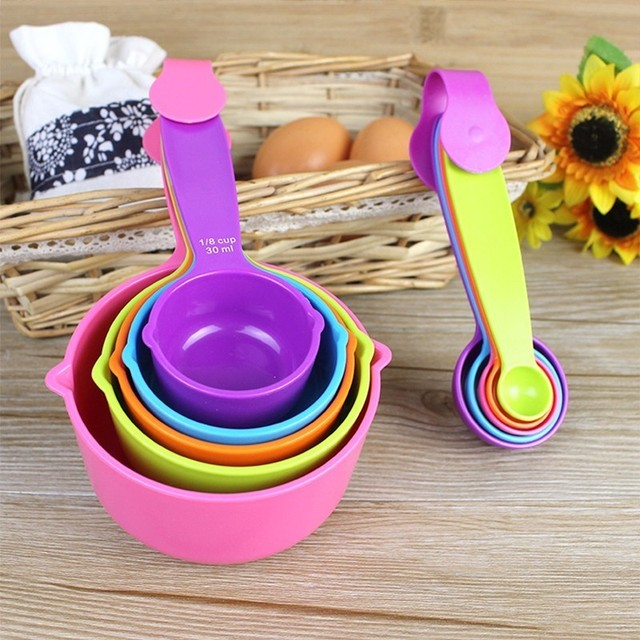 5 قطعة/المجموعة الملاعق الحساسة الملونة البلاستيك قياس ملعقة مفيدة السكر كعكة الخبز ملعقة المطبخ الخبز أدوات قياس