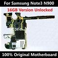 16 gb 100% placa base original para samsung galaxy note 3 n900 buen trabajo desbloqueado con chips de reemplazo de la placa lógica placa base