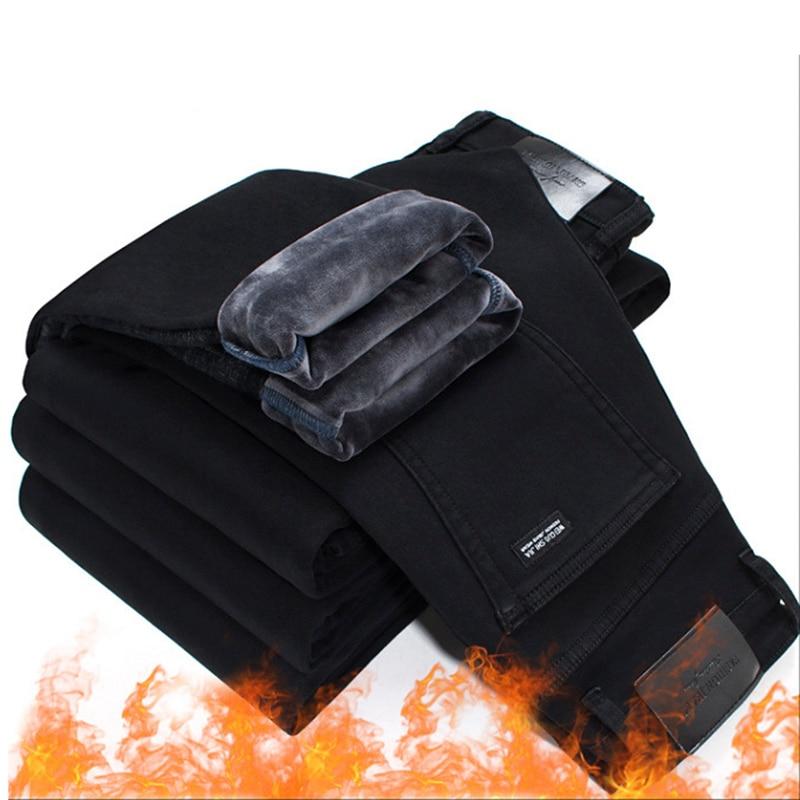 2019 Men Fashion Winter   Jeans   Men Black Slim Fit Stretch Thick Velvet Pants Warm   Jeans   Casual Fleece Trousers Male Plus Size