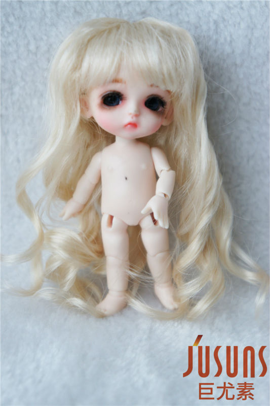 JD264 Lati white doll wigs 3-4inch Long wave BJD wig Synthetic mohair doll accessories