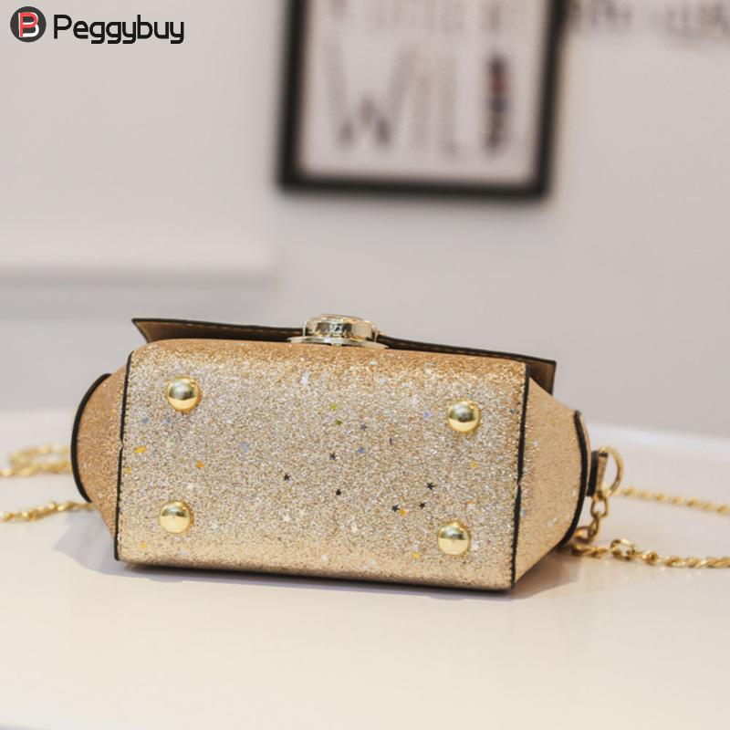 Glitter Sequins Women PU Chain Handbags Messenger Crossbody Bags Party  Shoulder Sling Bags Fashion Girls Shinning Clutch Bags -in Shoulder Bags  from Luggage ... fd86ab49807c