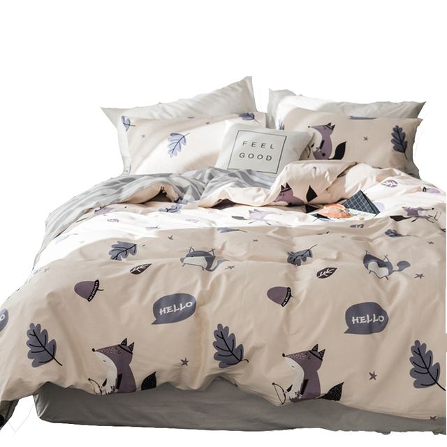 Grey Stripes Bed Sheet Pillow Case Cartoon Fox Printed Duvet Cover 100 Cotton Twin Queen King Size Bedding Sets For Children