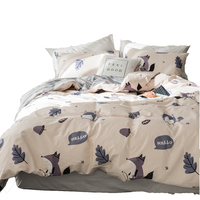 Grey Stripes Bed Sheet Pillow Case Cartoon Fox Printed Duvet Cover 100% Cotton Twin Queen King Size Bedding Sets For Children