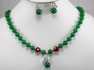 DYY Kostenloser Versand>> neue heiße Schöne grüne jade halskette schmetterling anhänger ohrringe set Kostüm Schmuck