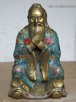 007091 Bronze cloisonne Buddha China's great sage educator Confucius statue Kong qiu