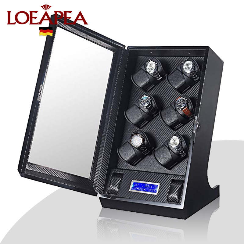 Automatic watch winder 12+2 LUXURY Chain winder case LCD control new Japan motor watch machine box with LED light inside
