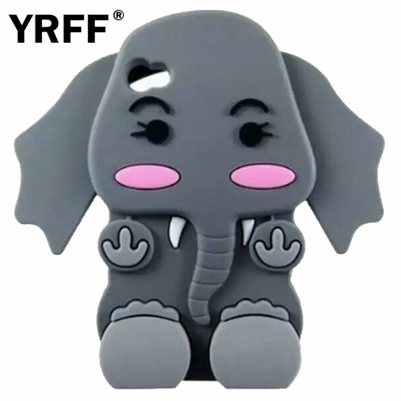 New lovely big ears long nose Elephant Silicon Phone case cover for apple Iphone 4 4S 4G case phone Protective shell