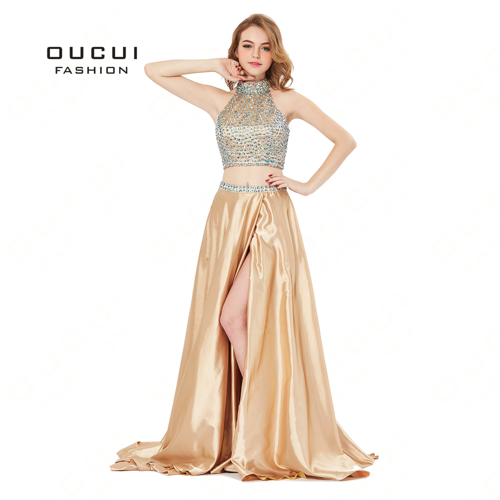 New Luxury Long Evening   Dress   Formal Top Gold Satin Halter Beads High Slit Court Train   Prom     Dresses   Party Gown BL1813