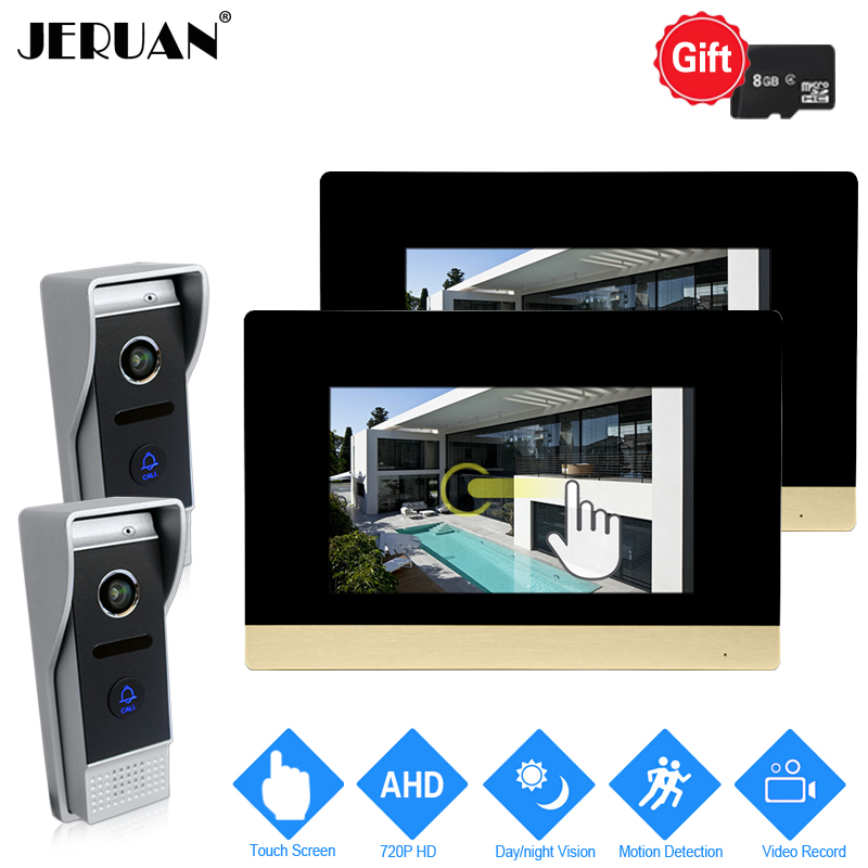 JERUAN 720P AHD Motion Detection 7`` Touch Screen Video Door Phone Intercom System 2 Record Monitor + 2 HD 110 degree Camera 2V2 jeruan 720p ahd motion detection 7 touch screen video door phone doorbell intercom system 2 record monitor hd ir mini camera