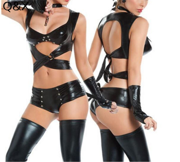 PS9 2017 Women <font><b>Sexy</b></font> Lingerie Imitation Leather <font><b>Cat</b></font> Women <font><b>Cosplay</b></font> Costumes Club Evening Party Wear Set Halloween <font><b>Cosplay</b></font> Costums image