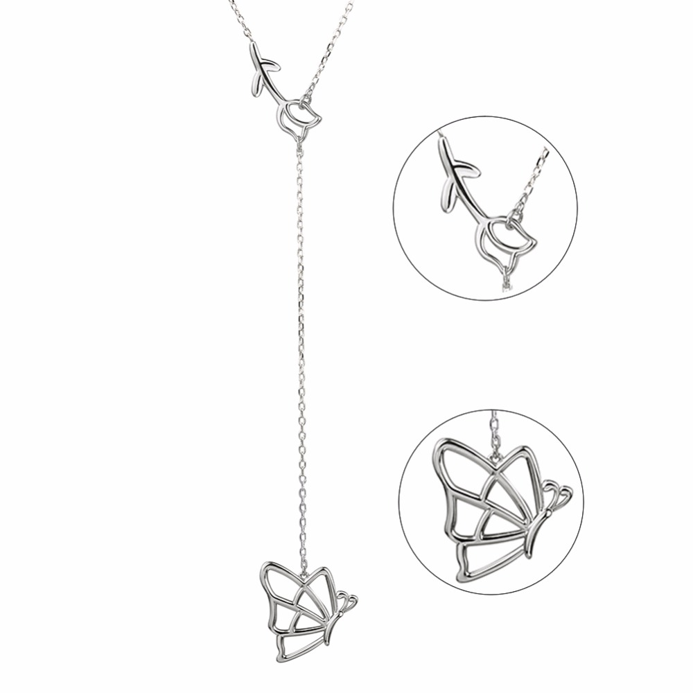 StrollGirl 925 Sterling Silver Chain Pendant Necklace Fashion Jewelry Feather & butterfly Necklaces & Pendants For Women 2018 chic feather letter round shape noctilucent pendant necklace for women