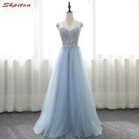 Luxury Long Prom Dresses Women Free Shipping Sequin Crystal Long Graduation Dresses Evening Gown Vestido De