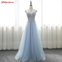 Luxury Long Prom Dresses Women Free Shipping Sequin Crystal Long Graduation Dresses Evening Gown vestido de formatura longo
