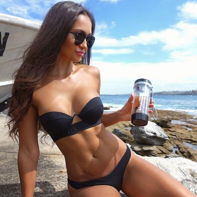 6f6b082e4169 € 9.32 21% de DESCUENTO|Melphieer Sexy vendaje sin espalda Bikini mujeres  traje de baño brasileño negro sólido Biquini Push Up trajes de baño traje  de ...
