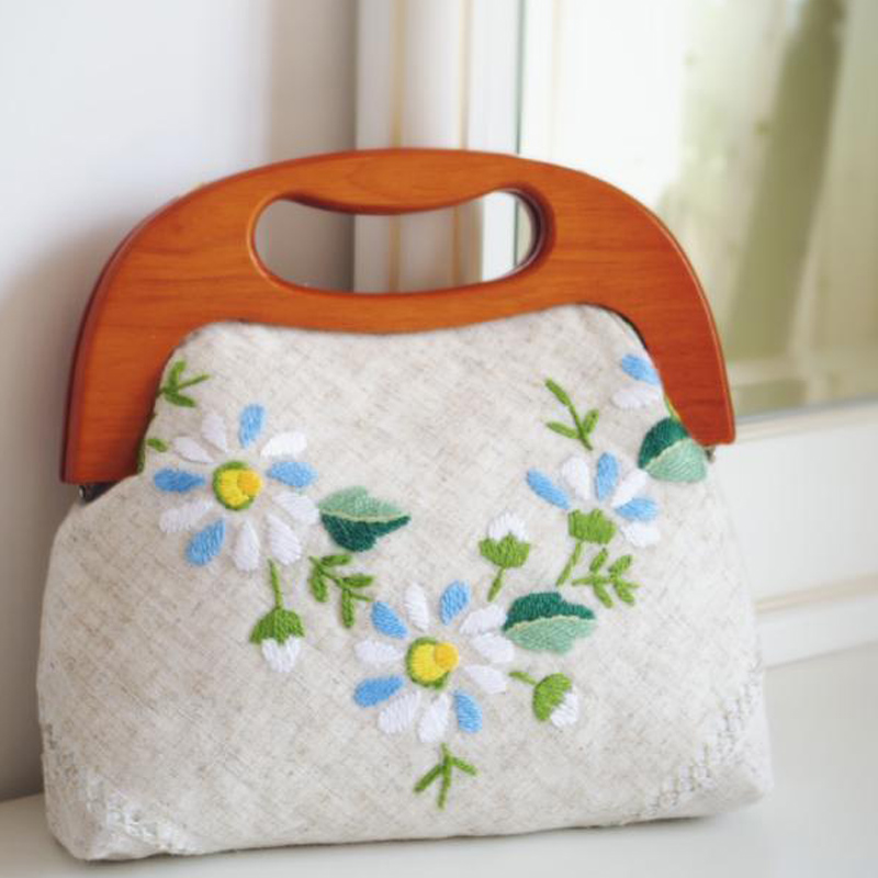 Fashion Embroidery Handbag Women Handmade Tote Linen Flower Satchels Chamomile Floral Design Bags Vintage Wooden Handle Wristlet