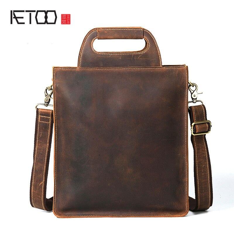 AETOO Crazy horse leather men bag vertical handbag leather handbags retro file bag head layer of leather shoulder bag