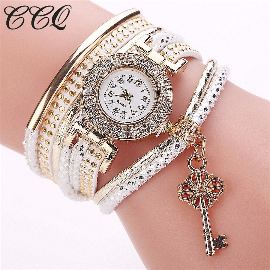 2017 CCQ Brand Fashion Gold Crystal Key Watch Casual Luxury Women Dress Braided Bracelet Wristwatch Female Quartz Wristwatches