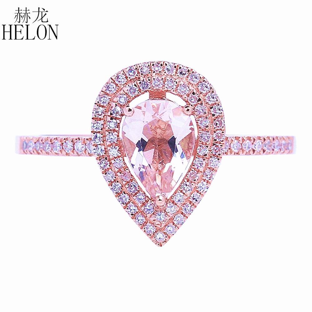 HÉLON Solide 14 k Or Rose Deux Halos Naturel Diamants Bague De Fiançailles De Mariage 5x7mm Poire Morganite Anneau fine Jewelry Femmes
