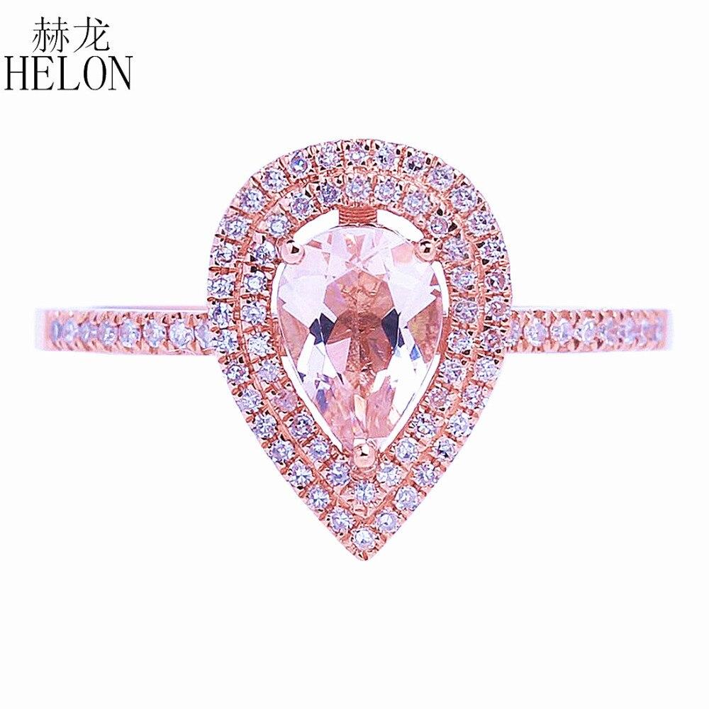 HELON solide 14 k or Rose deux Halos diamants naturels bague de fiançailles mariage 5x7mm poire Morganite bague bijoux fins femmes