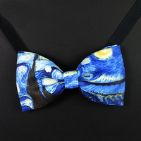 Unique Designer Famous Painting Bow Tie Night Club Wedding Groom Male Married Bowties