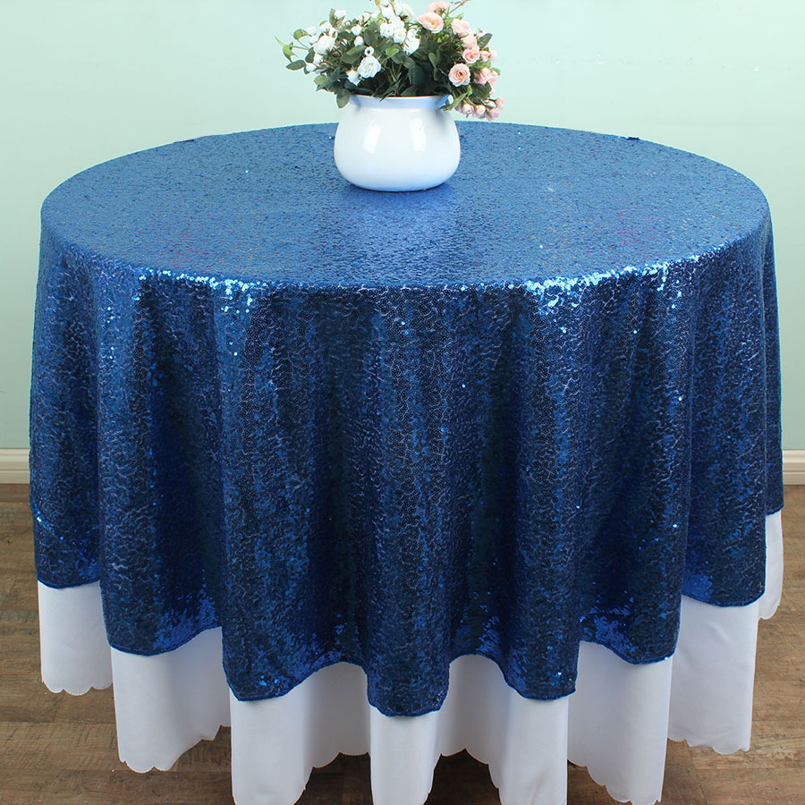 72 Inch Round Royal Blue Sequin Table Clothss Banquet Glitter Table Overlay  Glitz Wedding Party Decoration