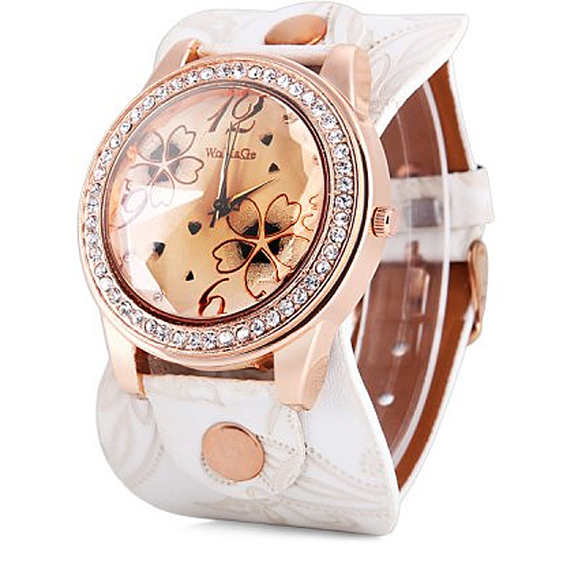 2019 New Luxury Brand Womage Round Dial Shape Wristwatch Casual And Fashion Quartz Watch With Leather Watch Women Luxury Brand
