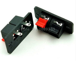 50pcs 2P Audio Speaker Terminal Double Spring Clip Jack Plug Socket