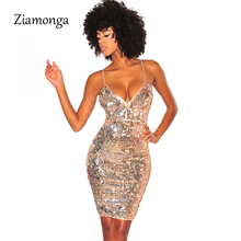Ziamonga Sexy Spaghetti Strap Sequin Dress Sleeveless Backless Bodycon Split Back Mini Short Bandage Dress Clubwear Summer Dress