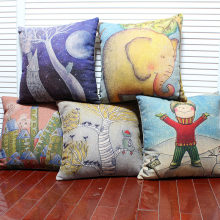 "High quality linen invisible zipper creative cartoon cushion cover/pillow cover ""boy/elephant/moon""45*45cm(China)"