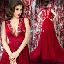 New Arrive Chiffon Evening Dresses Sheath V Neck Pleat Ruched Applique Sheer-illusion Lace Women Gown yk1A157