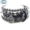 OM Charm Anchor Bracelets Leather Genuine Lava Stone Onyx Beads Bangles for Men's Fashion Accessories Women Jewelry 1 set 4 pcs