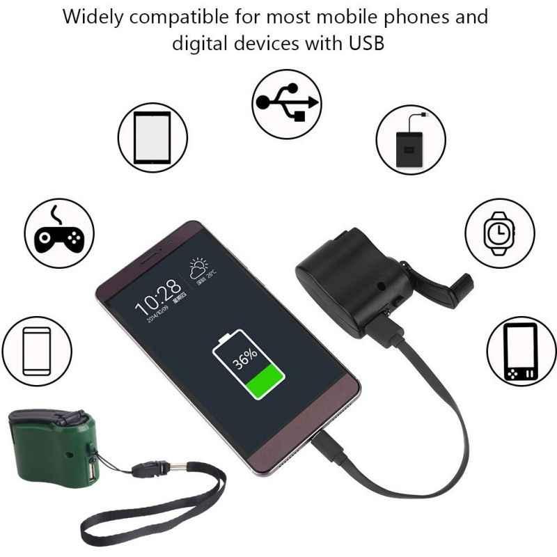EDC USB Ponsel Charger Darurat untuk Camping Hiking Outdoor Olahraga Engkol Tangan Travel Charger Peralatan Berkemah Alat Kelangsungan Hidup