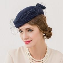 Новое поступление, винтажная Свадебная Кепка, английский женский шерстяной берет, шапка в горошек, вуаль, сетка, фетровая шляпа, Женская церковная фетровая шляпа, кепка s B-7547