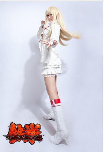 Nouveau 2017 Costume de Cosplay Halloween pour les femmes Tekken 7 Cosplay jeu LiLi robe Lolita blanche