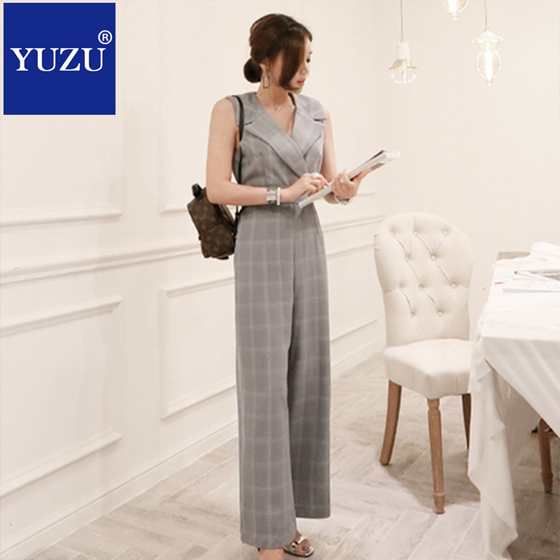 overalls plaid jumpsuits for women 2018 business fashion nova gray elegant sleeveless suit collar bow lacing belt long dungarees