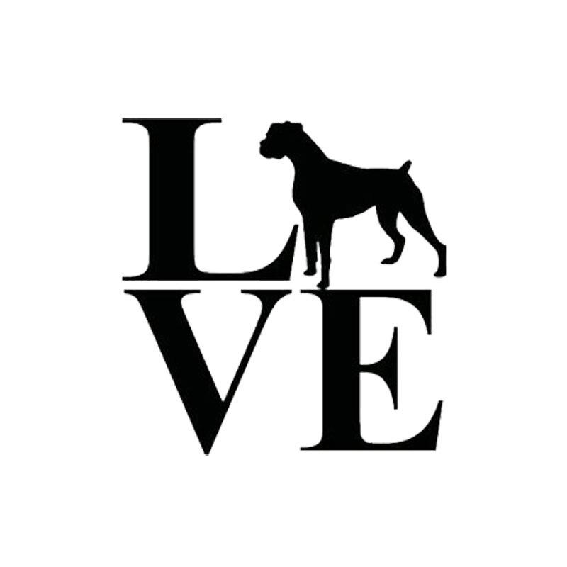 12cm*12.5cm Car Styling LOVE Boxer Dog Vinyl Creative Fashion Car Stickers Black Silver C5-0754
