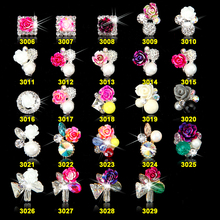 100pcs New 3D Nail Art Decoraitons Strass Rhinestones Alloy Charms Flower Square Gems Design Jewelry Nails 3006-3029